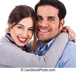 Beautiful young couple closeup shot