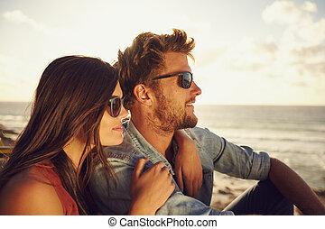 Beautiful young couple enjoying the view