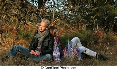 Beautiful Young Couple On The Nature