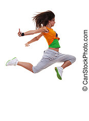 beautiful young dancer jumping