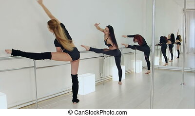 Beautiful young dancer with classmates practicing in studio