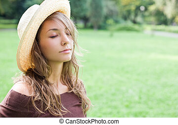 Beautiful young dreamer. - Portrait of gorgeous fashionable...