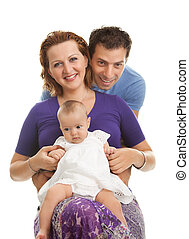 Beautiful young family on white background