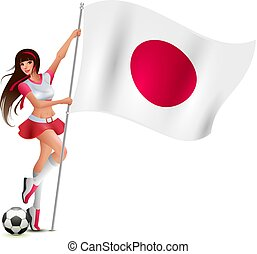 Beautiful young fan girl holding flag of japan