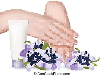 Beautiful young female hands with a cream and purple flowers. Vector.