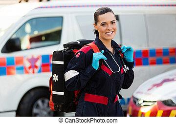 female paramedic carrying lifepack - beautiful young female ...