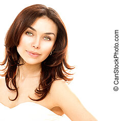 Beautiful Young Female Portrait isolated on White. Perfect Skin