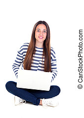 Beautiful young female student with a laptop