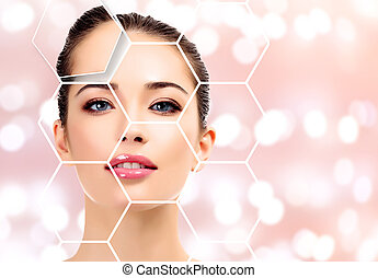 Beautiful young female with clean fresh skin, abstract background, skin treatment concept.