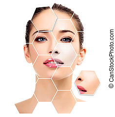 Beautiful young female with clean fresh skin, white background, skin treatment concept.