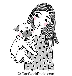 Beautiful young girl and a cute pug. Hand drawing isolated objects on white background. Vector illustration.