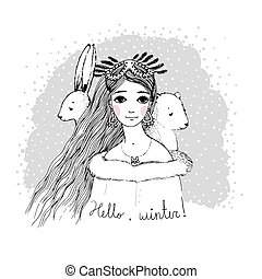 Beautiful young girl and cute bear hare. - Hand drawing...
