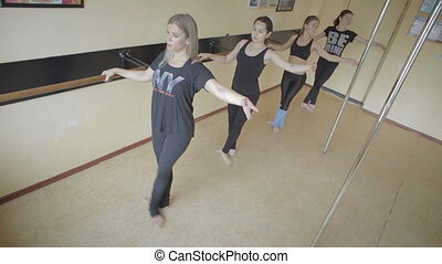 Beautiful young girl doing workout in dance studio stock...