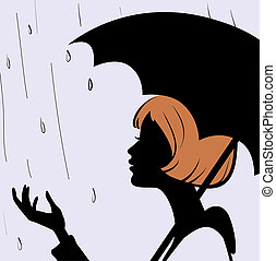 Beautiful young girl face silhouette with black umbrella on...