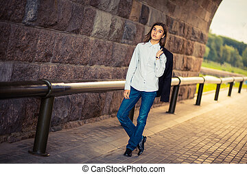 beautiful young girl hipster standing