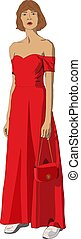 Beautiful young girl in a red dress and with a handbag in hands
