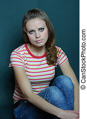 girl in a striped T-shirt
