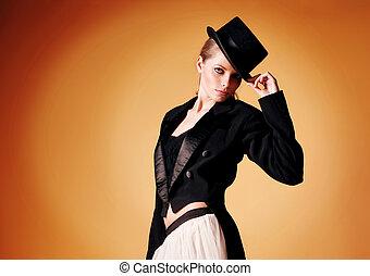 beautiful young girl in a tuxedo