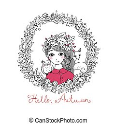 Beautiful young girl in a wreath.