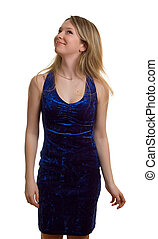 young girl in blue dress