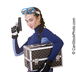 Beautiful young girl in goggles with box.