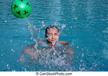 Beautiful, young girl in pool
