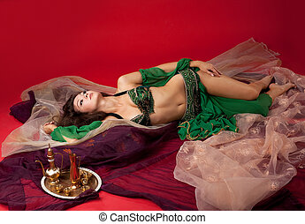 beautiful young girl  lay on veil