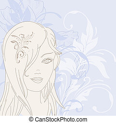 Beautiful young girl on a floral background.