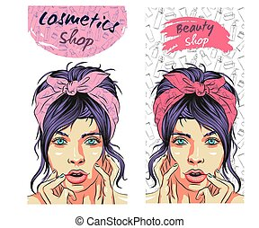 Beautiful young girl rubs cream in her face, Korean cosmetics. Set of beauty salon banners with hand drawn doodle backgrounds, banks and tubes, background for social networks.