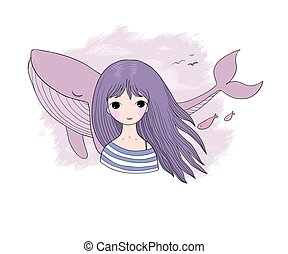 Beautiful young girl sailor with a whale.