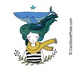 Beautiful young girl sailor with a whale in her hair. Sea animals. Hand drawing isolated objects on white background. Vector illustration. Coloring book