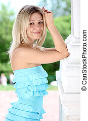 Beautiful young girl smiling. Outdoor portrait