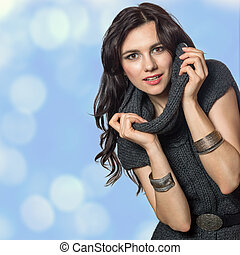 Beautiful young girl trendy warm cozy knit dress