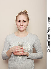 beautiful young girl with a cup