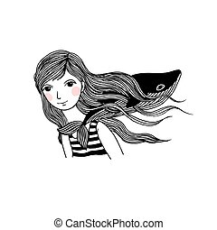 Beautiful young girl with a whale.