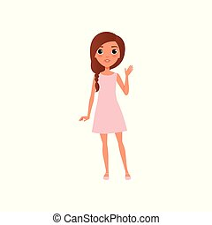 Beautiful young girl with brown hair wearing little pink dress and sandals. Cartoon teenager character standing and waving by hand. Colorful flat vector design