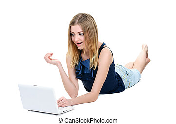 Beautiful young girl with laptop on white background