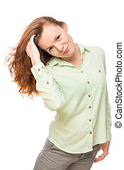 beautiful young girl with long red hair on white background