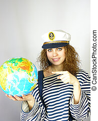girl with the globe in hands