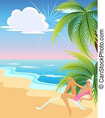 girls on the summer beach