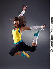 hip hop dancer jumping - beautiful young hip hop dancer...