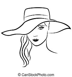 Beautiful young lady in hat outline - Beautiful young lady...