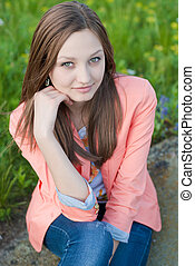 Beautiful young lady outdoor portrait