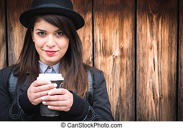 Beautiful young lady swith coffee - Beautiful young lady...