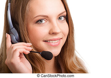 Beautiful young laughing cheerful woman and headphones with...