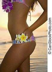 beautiful young  local woman on the beach in lanikai