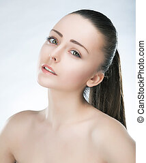 Beautiful young lovely female. Skincare. Beauty