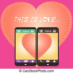 Beautiful young man and woman in love on the screen of your smartphone.