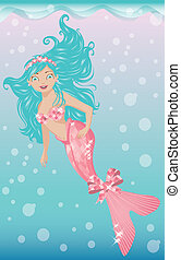Beautiful young mermaid with diadem, vector