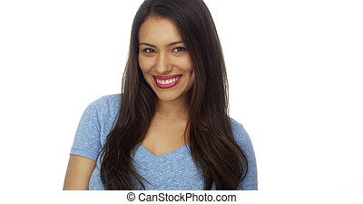 Beautiful young Mexican woman smiling